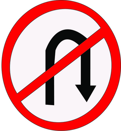 no u turn sign:  Do not turn Illustration