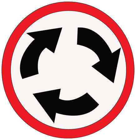 roundabout: roundabout sign  Illustration