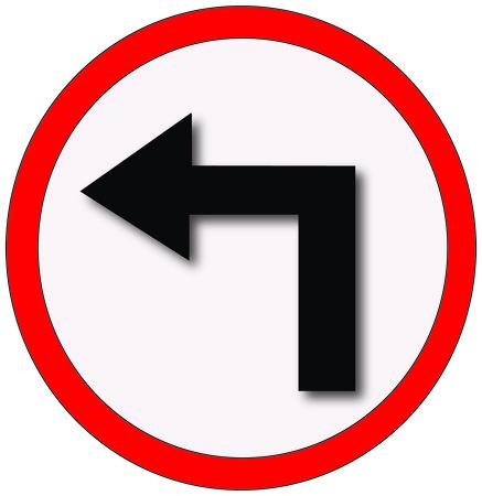 Make a left turn sign