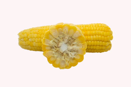 Sweet boiled corn on white background photo