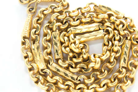 golden chains isolated over white  Stock Photo