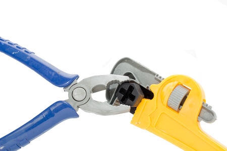 Toy plastic tools isolated photo