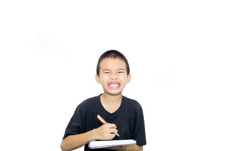 stumped: Asian boy with white background activities Stock Photo