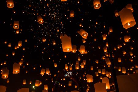 Sky lanterns, Flying Lanterns in thailand photo