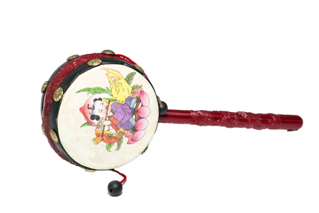 chinese drum: chinese toy rattle drum on white