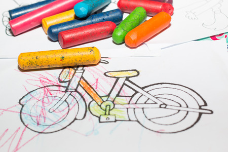 crayons: Bicycle coloring with crayons