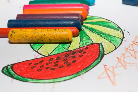free hand: Watermelon as free hand drawing from color crayon Stock Photo