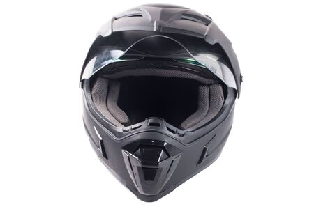 casco de moto: aislado casco de moto negro