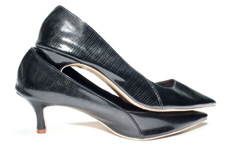 no heels: Photo of ladies black high heel shoes, isolated on a white background