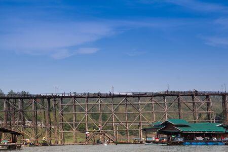 old an long wooden bridge at Sangklaburi,Kanchanaburi province, Thailand