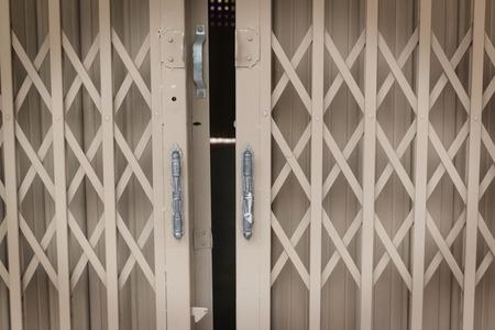 steel door: white old steel door Stock Photo