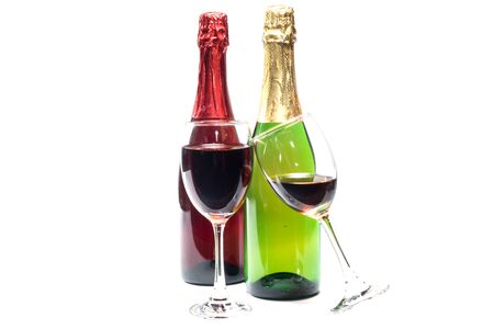 redwine: red wine and grapes wine  isolated on a white backgroundglass Stock Photo