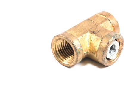 threaded: Threaded Copper pipe fitting isolate on white Stock Photo