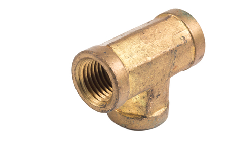 copper pipe: Threaded Copper pipe fitting isolate on white Stock Photo