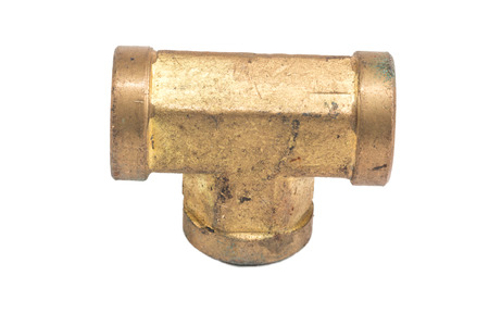 fitting: Threaded Copper pipe fitting isolate on white Stock Photo