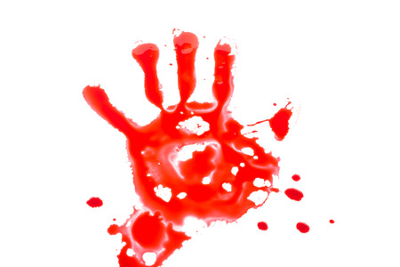 blade cut: Blood splatter with hand isolate on white Stock Photo