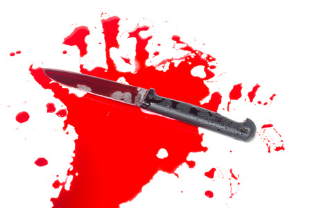 blade cut: Blood splatter with kitchen knife isolate on white Stock Photo