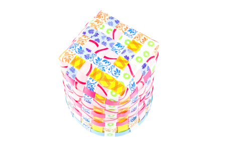 interleaved: Hand craft plastic box with colorful isolated on white background Stock Photo