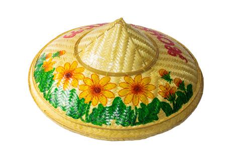 bambu: sombrero hecho de bambú en el fondo blanco Foto de archivo