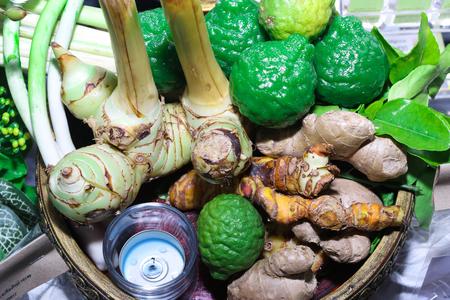 galangal: Kaffir lime, galangal, turmeric In basket Stock Photo