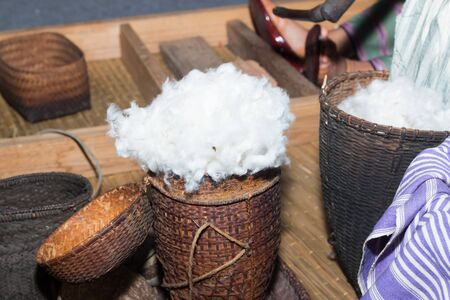 cotton thread: Cotton prepare for make cotton thread Thai style