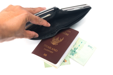 robbed: Tourist out of money and Thailand Passport Stock Photo