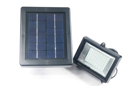 silicium: Solar panels with Spotlights isolate on white Stock Photo