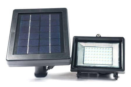 alternativ: Solar panels with Spotlights isolate on white Stock Photo