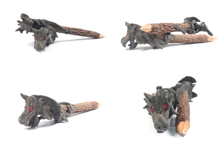 carved: 1. Wood carved dragon pencil Wood carved dragon pencil