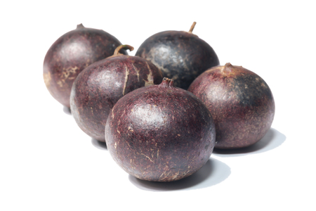 purple leaf plum: Flacourtia fruit on white background