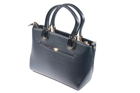 designer bag: Black leather womens handbags isolate on white Stock Photo