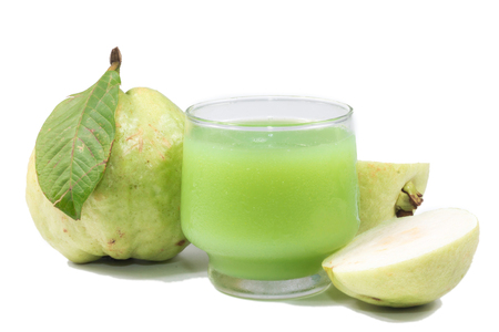 vitamine: Guava juice and fresh Guava isolate on white background