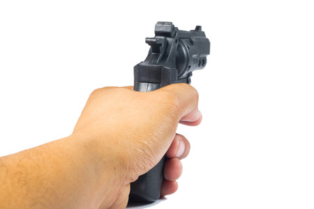 aiming: Modern Gun isolate on white Stock Photo