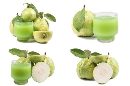 nourish: guavas and guava juice on white