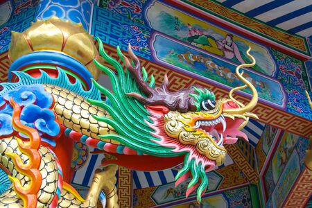 naga china: Dragon in Chinese temple Stock Photo
