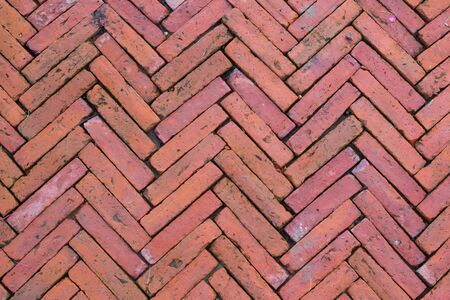 split road: Red brick road split Stock Photo
