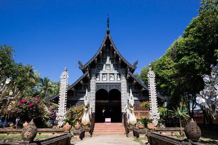 molee: Old wooden church of Wat Lok Molee Chiangmai Thailand Stock Photo