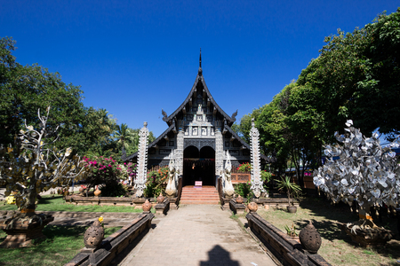 chiangmai: Old wooden church of Wat Lok Molee Chiangmai Thailand Stock Photo