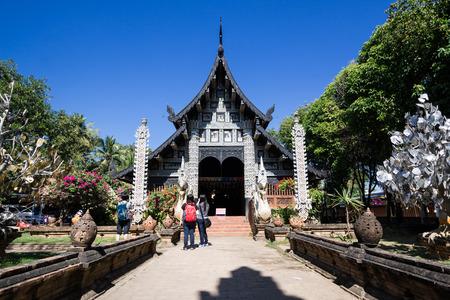 molee: Old wooden church of Wat Lok Molee Chiangmai Thailand Editorial