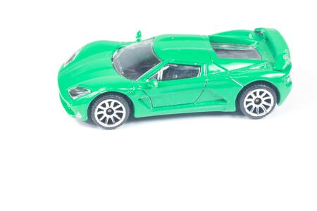 old and new: toy car isolated on white Stock Photo