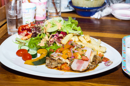 barbecued: Barbecued Pork with Grilled Vegetables and fruit