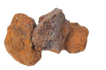specimen: macro shooting of specimen natural rock - specimen of hematite haematite, iron ore mineral stone isolated on white background Stock Photo