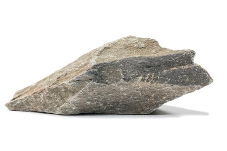 gemmology: Shale mineral stone isolated on white background