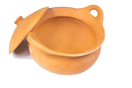 stoves: Traditional stoves and pots set made of red clay Stock Photo
