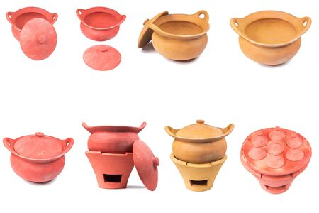 stoves: Traditional stoves and pots set made of red clay isolate on white