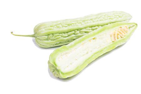 free radicals: Bitter melon, Bitter gourd fruits on white background Stock Photo