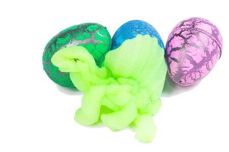 dinosaur egg: Toy Dinosaur egg for Easter isolate on white