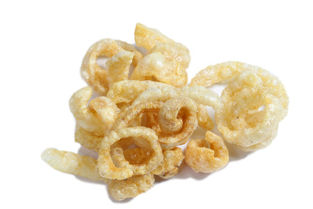 chicharon: Fried pork rinds over a white background