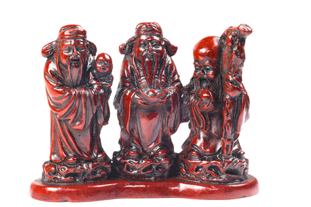 hock: Three Chinese lucky gods, Fu Lu Shou. (Hock Lok Siew) isolate on white