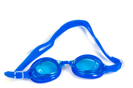 protective eyewear: blue Glasses for swimming Isolated on a white background Stock Photo